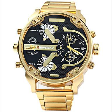 Недорогие Армейские часы-Муж. Спортивные часы Армейские часы Часы-браслет Нержавеющая сталь Черный / Золотистый Защита от влаги Календарь Творчество Аналоговый Кулоны Роскошь На каждый день Кольцеобразный - / Один год