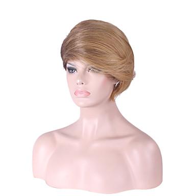 女性 人工毛ウィッグ キャップレス ストレート ベージュ バング付き ナチュラルウィッグ コスチュームウィッグ