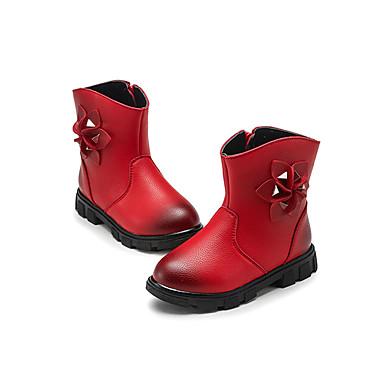 Para Meninas Sapatos Couro Ecológico Outono / Inverno Conforto Botas Caminhada Ziper / Flor para Preto / Vermelho / Rosa claro