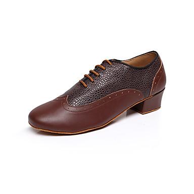 Homme Chaussures Latines Cuir Talon Imitation Perle Talon Bas Personnalisables Chaussures de danse Noir / Marron / Rouge / Intérieur / Utilisation / Entraînement / Professionnel