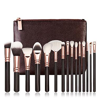15pcs Pinceles de maquillaje Profesional Sistemas de cepillo Pincel de Nylon Portátil / Profesional Madera