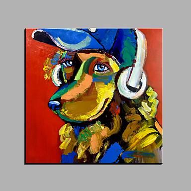 Maalattu Abstrakti Eläimet Neliö, Klassinen Moderni Kangas Hang-Painted öljymaalaus Kodinsisustus 1 paneeli