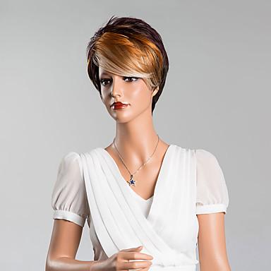 Human Hair Capless Parykker Ekte hår Rett Lagvis frisyre Pixiefrisyre Med lugg Side del Kort Parykk Dame