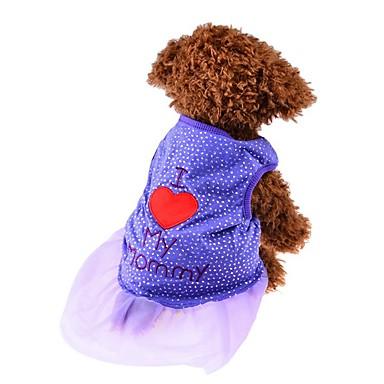 Kat Hund Trøye/T-skjorte Kjoler Hundeklær Hjerte Svart Lilla Rosa Bomull Kostume For kjæledyr Dame Søtt Mote