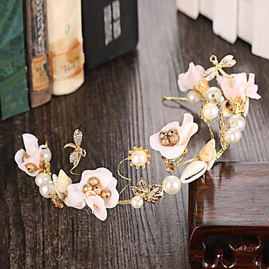 成人用 合金 人造真珠 ファブリック かぶと-結婚式 パーティー カジュアル 屋外 ヘッドバンド 1個