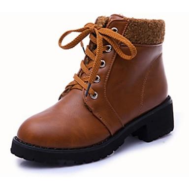 Bootsit-Leveä korko-Naisten-PU-Musta Ruskea-Rento-Comfort