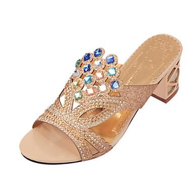 Mulheres Sapatos Gliter / Couro Ecológico Verão Chanel Sandálias Caminhada Salto Robusto / Salto de bloco Dedo Apontado / Dedo Aberto