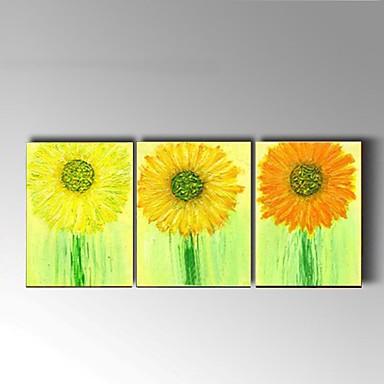 Pintura a Óleo Pintados à mão - Vida Imóvel / Floral / Botânico Pastoril / Modern Tela de pintura / 3 Painéis