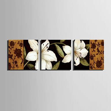 E-HOME® Stretched Canvas Art White Lily Decorative Painting Set of 3
