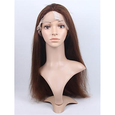 Naisten Aitohiusperuukit verkolla Aidot hiukset Full Lace Lace Front 130% Tiheys Suora Peruukki Jet Black Musta Tummanruskea Keskipitkä