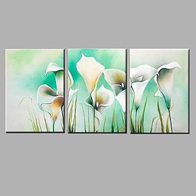 手描きの 静物画 / 花柄/植物の 油彩画,Modern / 田園 3枚 キャンバス ハング塗装油絵 For ホームデコレーション