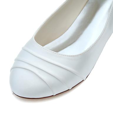 rond Bout Plat Evénement Printemps Ballerines Elastique amp; Volants Chaussures Soirée Ivoire 05336099 Mariage Satin Automne Talon Eté Femme wqzAvH8x