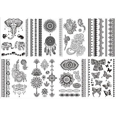 8 Αυτοκόλλητα Τατουάζ Σειρά Κοσμημάτων Σειρά Λουλουδιών Non Toxic Μοτίβο Φυλετικό Χαμηλά στην Πλάτη WaterproofΠαιδικά Γυναικεία Girl