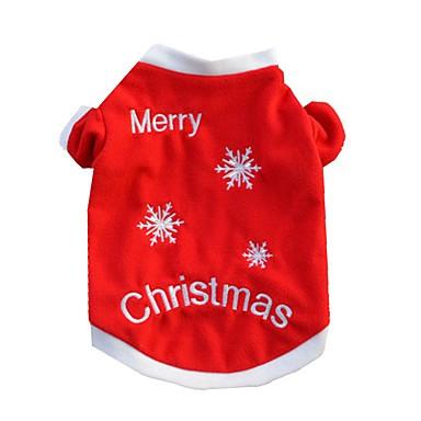 Kat Hond T-shirt Hondenkleding Sneeuwvlok  Rood Katoen Kostuum Voor huisdieren Heren Dames Casual/Dagelijks Kerstmis