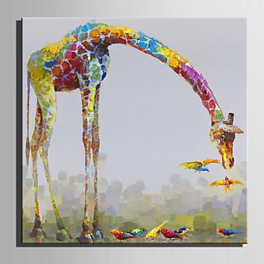 Hang-Painted Oliemaleri Hånd malede - Dyr Europæisk Stil Moderne Lærred