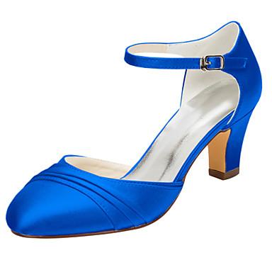 abordables Meilleures Ventes-Femme Chaussures à Talons Talon Bottier Bout rond Boucle Satin Elastique Printemps / Automne Bleu royal / Champagne / Ivoire / Mariage / Soirée & Evénement / EU42