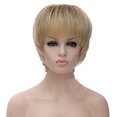 Pelucas sintéticas Recto / Yaki Dorado Corte asimétrico Pelo sintético Entradas Naturales Dorado / Rubio Peluca Mujer Corta Sin Tapa Blonde