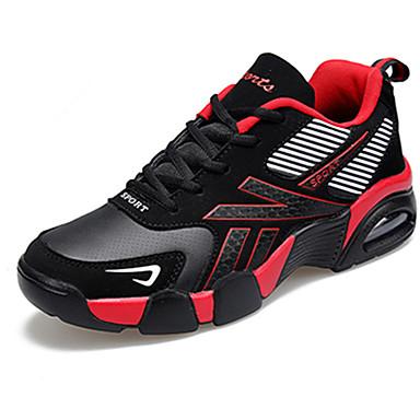 Homens sapatos Tecido Primavera Outono Conforto Tênis Corrida Cadarço para Casual Preto Vermelho Azul