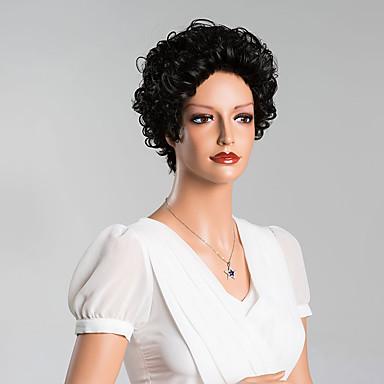 elegante krullend kort capless pruiken top kwaliteit menselijk haar