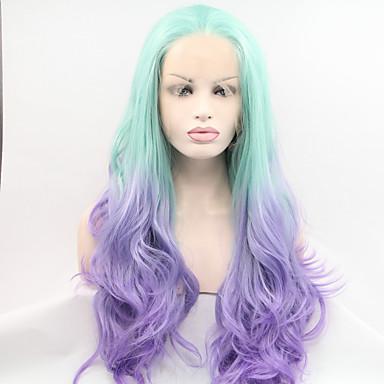 Syntetisk blonder foran parykker Naturlige bølger Syntetisk hår Blå Parykk Dame Blonde Forside