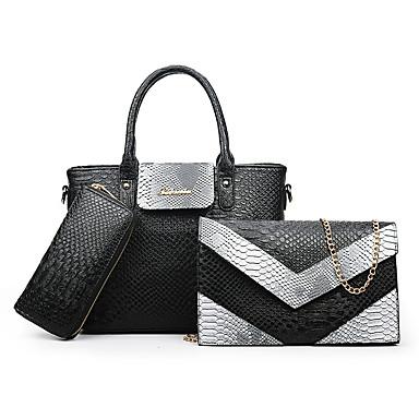 Mulheres Bolsas PU Conjuntos de saco 3 Pcs Purse Set Rosa / Cinzento / Roxo