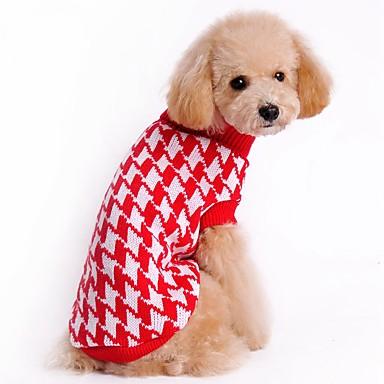 Gato Cachorro Súeters Natal Roupas para Cães Riscas Preto Vermelho Fibras Acrilicas Ocasiões Especiais Para animais de estimação Homens