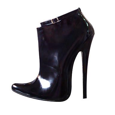女性用 靴 PUレザー 冬 ブーティー ファッションブーツ ブーツ スティレットヒール ポインテッドトゥ ベックル のために パーティー ブラック