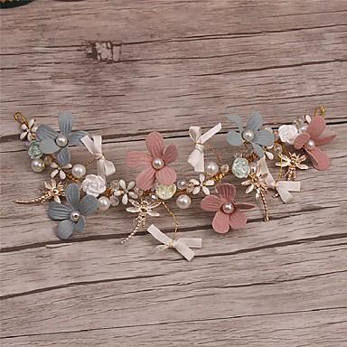 成人用 合金 人造真珠 ファブリック かぶと-結婚式 パーティー カジュアル ヘッドバンド ティアラ 1個