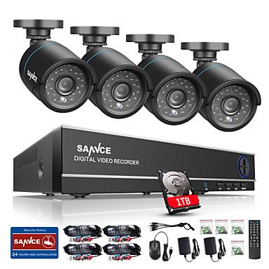 sannce®8ch 4 in 1 720p hdmi ahd cctv dvr 4pcs 1.0 mpの屋外セキュリティカメラ監視システム内蔵1tb hdd