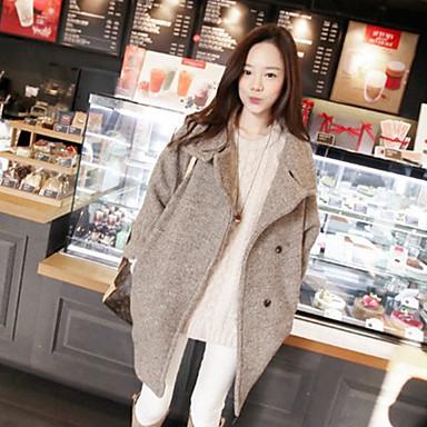 女性 カジュアル/普段着 ソリッド コート,シンプル ブラウン ウール 長袖
