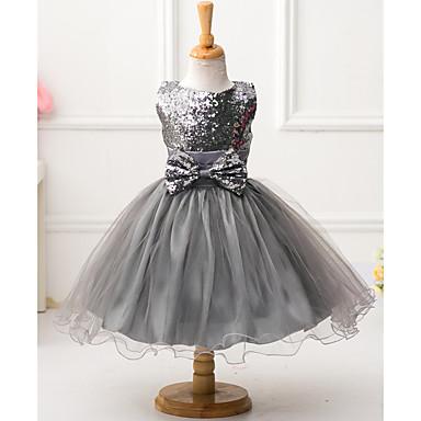 お買い得  女児 ドレス-子供 女の子 リボン ソリッド ノースリーブ ポリエステル ドレス レッド