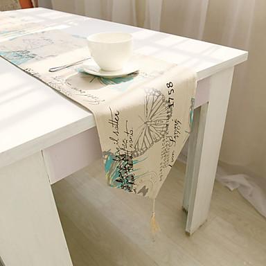 方形 フラワー パターン柄 テーブルランナー , コットンブレンド 材料 ホテルのダイニングテーブル 表Dceoration