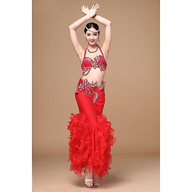 ベリーダンス セット 女性用 ダンスパフォーマンス ポリエステル ルーズブーツ 3個 ノースリーブ ローウエスト スカート ブラジャー ヒップスカーフとベルトは含まれていません.