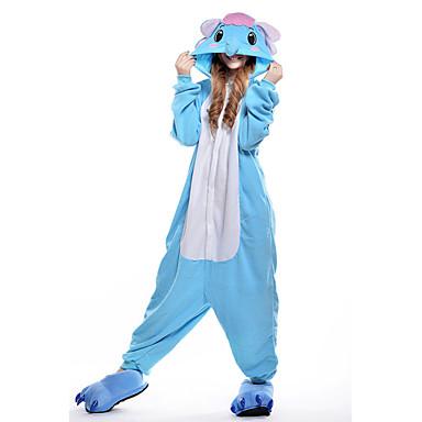 Pijama Kigurumi Elefant Pijama Întreagă Costume Coral Fleece Albastru Cosplay Pentru Adulți Sleepwear Pentru Animale Desen animat