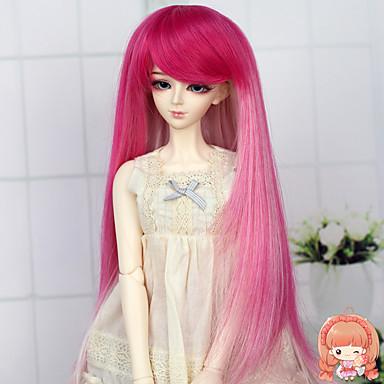 Synteettiset peruukit Suora Liukuvärjätyt hiukset Naisten Doll Wig Synteettiset hiukset