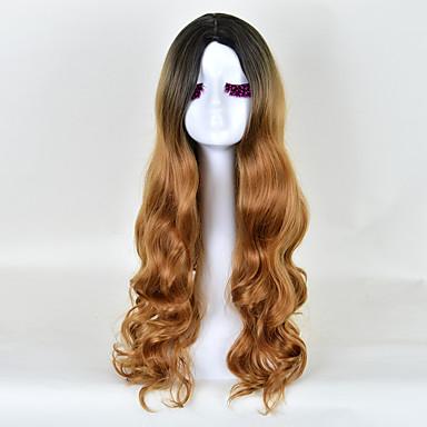 Naisten Synteettiset peruukit Suojuksettomat Runsaat laineet Beige Liukuvärjätyt hiukset Tummat juuret Luonnollinen hiusviiva