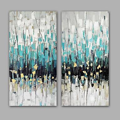 手描きの 抽象画 縦式, 近代の リアリズム キャンバス ハング塗装油絵 ホームデコレーション 2枚
