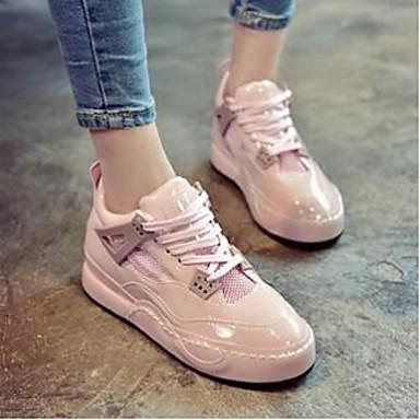 Dame-PUKomfort-Sneakers-Fritid-Rosa / Grå
