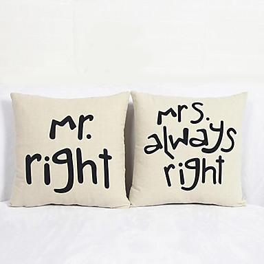 2つ 個 コットン リネン 枕カバー,メッセージ コンテンポラリー