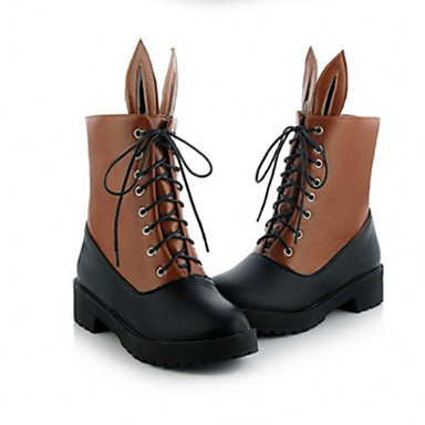 Dame Sko PU Vinter Komfort / Trendy støvler Støvler Tykk hæl Rund Tå Snøring Beige / Gul / Rød