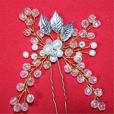 クリスタル 人造真珠 ヘアピン かぶと