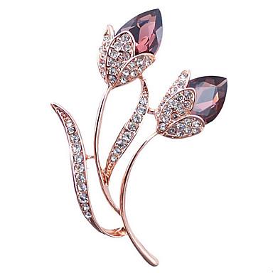 abordables Epingles & Broches-Femme Broche Elégant Cristal Broche Bijoux Violet Bleu Pour Soirée Quotidien Décontracté