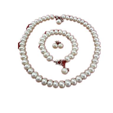 女性 人造真珠 真珠 1×ネックレス 1×イヤリング(ペア) 1×ブレスレット 用途 結婚式 パーティー 日常 カジュアル ウェディングギフト