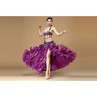 ベリーダンス セット 女性用 ダンスパフォーマンス ポリエステル ビーズ 3個 ノースリーブ ローウエスト スカート ブラジャー ウエストベルト