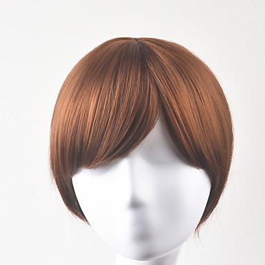Pelucas sintéticas Recto Corte Bob Pelo sintético Marrón Peluca Mujer Corta Sin Tapa
