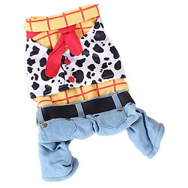 犬 コスチューム ジャンプスーツ 犬用ウェア ジーンズ 虹色 コットン コスチューム ペット用 男性用 女性用 カウボーイ ファッション