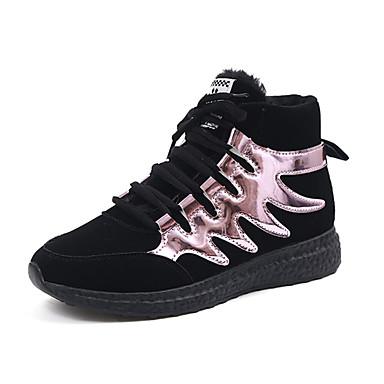 Dame-PU-Flat hæl-Komfort-Treningssko-Fritid-Rosa Sølv