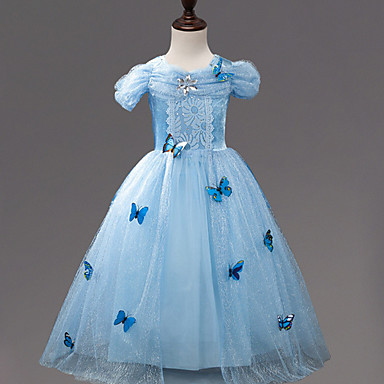 لفتاة فستان ذهاب للخارج بوليستر صيف كم قصير أزرق