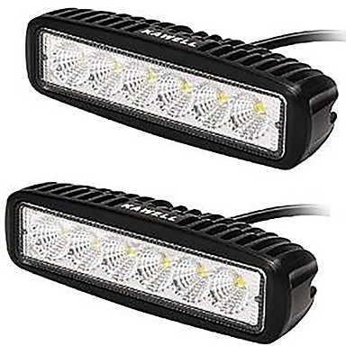 kawell® 18W LED lys bar 90 graders flom stråle lys for ATV / jeep / båt / SUV / lastebil / bil / ATV lys off road vanntett (en pakke 2)