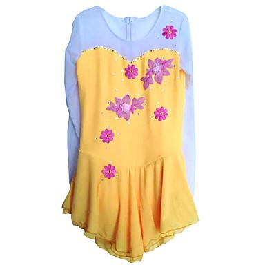 Luistelumekot Naisten Pitkähihainen Luistelu Hameet Erittäin elastinen Taitoluistelun Dress Hengittävä Mukava Kukka(kukat) Pitsi Elastaani